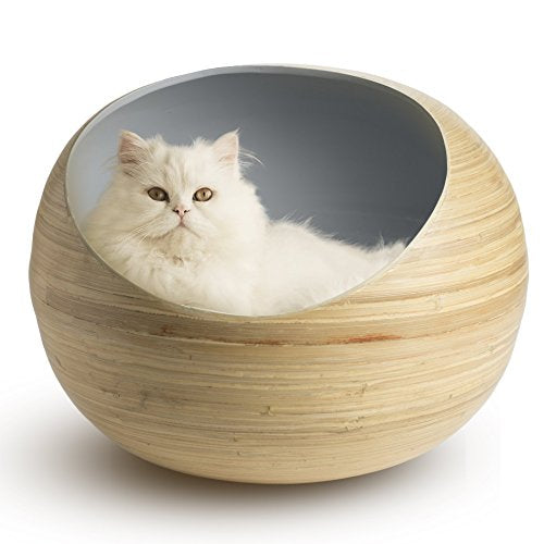 バンブー猫用ファンシーベッド Fhasso Stylish Igloo Cat Cave Bed - Luxury Bamboo Cat Beds  - Eco-Friendly Pods - Washable Cushioned Nest, Prestige Kitten Cozy House