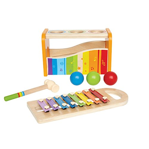 Hape Pound & Tap Bench with Slide Out Xylophone - Award Winning Durable Wooden Musical Pounding Toy for Toddlers, Multifunctional and Bright Colours - Zacca store