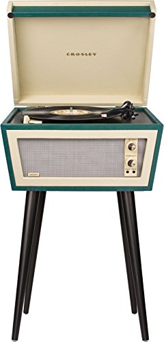 レトロなターンテーブルスタンド Crosley CR6231A-GR1 Sterling Portable Turntable with Aux-in, Green & Cream: Electronics