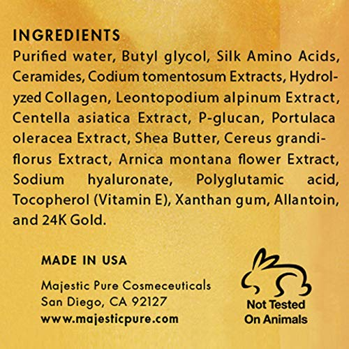 マジェスティック純金フェイシャルマスク Majestic Pure Gold Facial Mask, Help Reduces the Appearances of Fine Lines and Wrinkles, Ancient Gold Face Mask Formula - 8.8 Oz - Zacca store