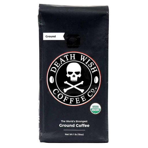 Death Wish Ground Coffee, The World's Strongest Coffee, Fair Trade and USDA Certified Organic, 16 Ounce - Zacca store
