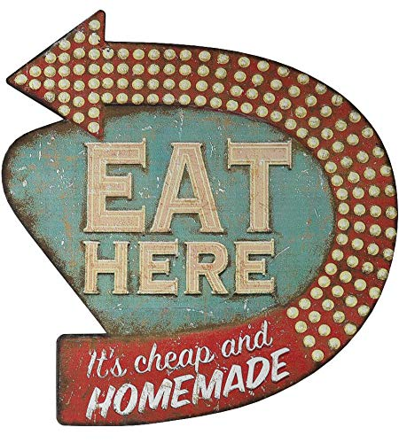 レトロ ダイナー ウォールサイン Creative Co-op Eat Here Tin Retro Wall Decor - Zacca store