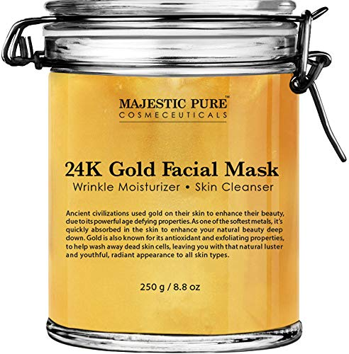マジェスティック純金フェイシャルマスク Majestic Pure Gold Facial Mask, Help Reduces the Appearances of Fine Lines and Wrinkles, Ancient Gold Face Mask Formula - 8.8 Oz