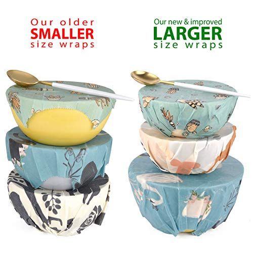 プラントベース100%ビーガン フードラップ Reusable Wax Food wrap - 100% Plant Based | 3 wax wraps for food Reusable set | Plastic wrap ALTERNATIVE to Beeswax food wrap - Zacca store