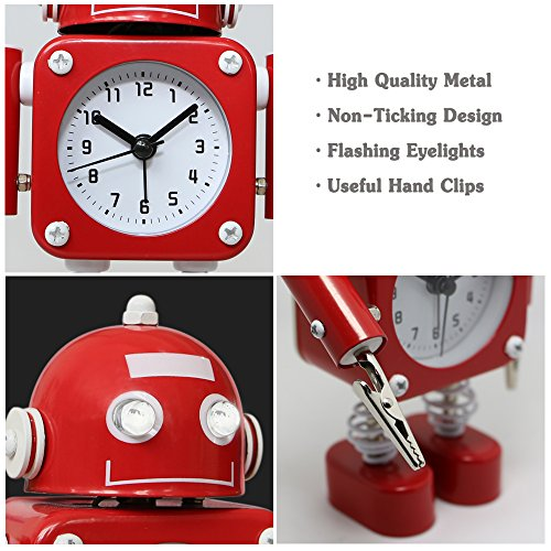 ロボットアラーム時計カチカチ鳴らない Betus Non-Ticking Robot Alarm Clock Stainless Metal - Wake-up Clock with Flashing Eye Lights and Hand Clip