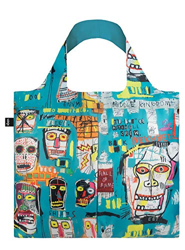 ローキー ジャン=ミシェル・バスキア エコバッグ  LOQI JB.SK Museum Jean Michel Basquiat Reusable Shopping Bag, One Size, Skull - Zacca store
