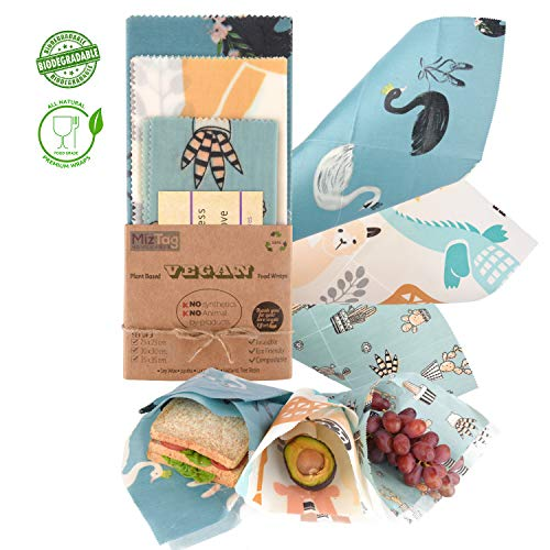 プラントベース100%ビーガン フードラップ Reusable Wax Food wrap - 100% Plant Based | 3 wax wraps for food Reusable set | Plastic wrap ALTERNATIVE to Beeswax food wrap