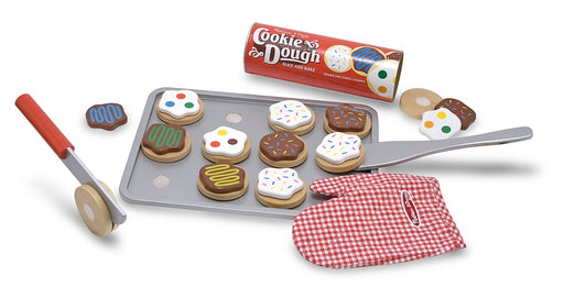 "ベーキングプレイセット Melissa & Doug Slice-and-Bake Wooden Cookie Play Food Set, Pretend Play, Materials, 28 Pieces, 10.5"" H x 13.5"" W x 3.25"" L"