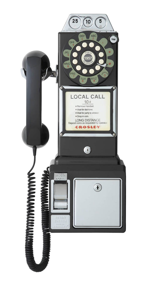 レトロ50'スタイル家庭用電話 Crosley CR56-BK 1950's Payphone with Push Button Technology, Black - Zacca store