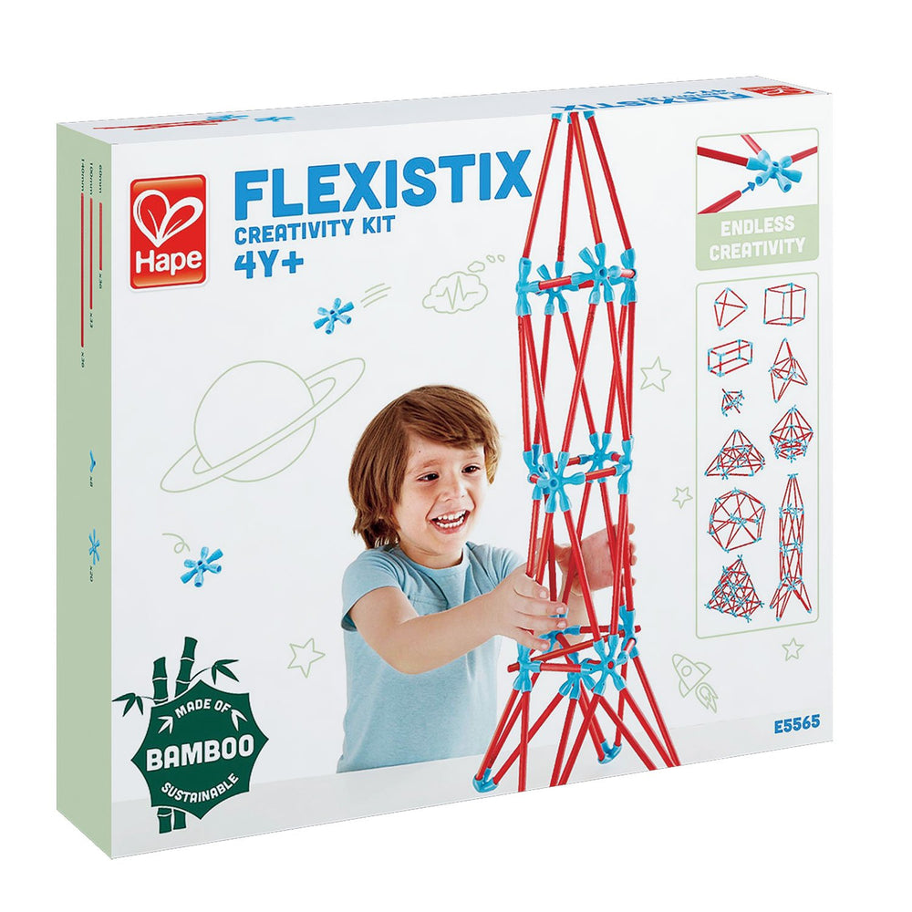 Hape Flexistix STEM Building Creativity Kit, Featuring 133 Multi-Colored Bamboo Pieces - Zacca store
