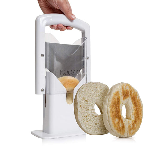 ベーグルカッター Koozam Bagel Slicer High End White Plastic and Stainless Steel Guillotine, White - Zacca store