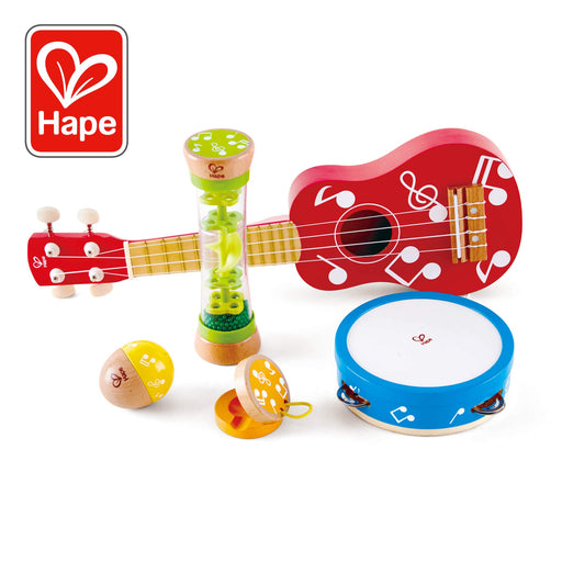 Hape Mini Band Instrument Set | Five Piece Wooden Instrument Music Set for Kids Includes Ukulele, Tambourine, Clapper, Rattle and Rainmaker - Zacca store