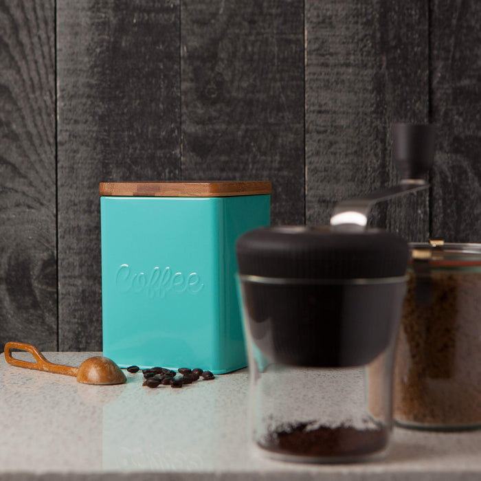 レトロなコーヒー豆収納缶 Now Designs Square Coffee Tin, Turquoise, Vintage Script Print - Zacca store