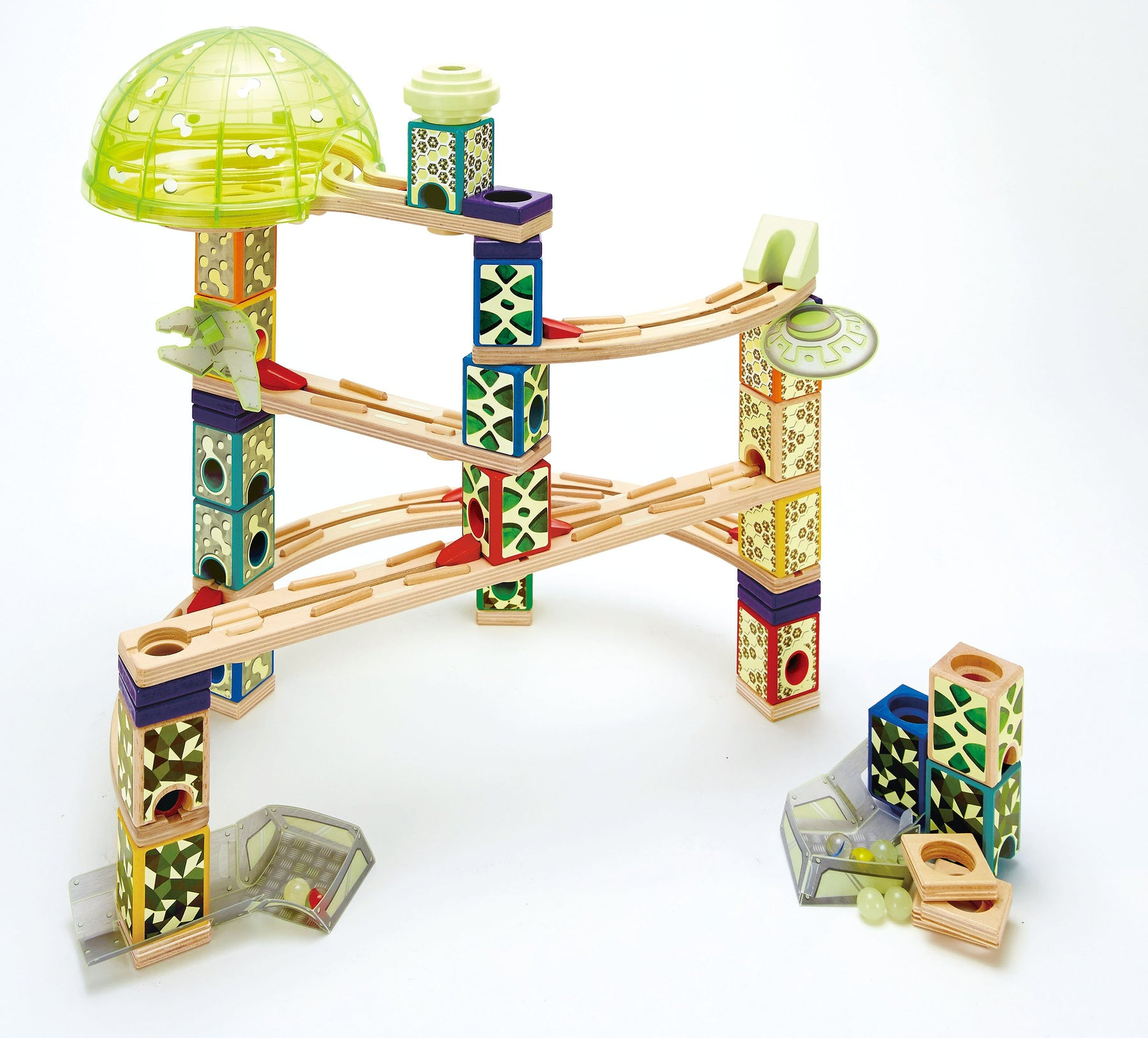 木とマーブルのタワー Award Winning Hape Quadrilla Wooden Marble Run Construction - Space City - Zacca store