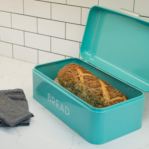 レトロなパン入れ Now Designs Large Bread Bin, Turquoise Blue - Zacca store