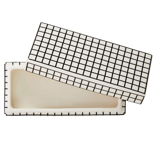 ジョナサン・アドラー  グリッド装飾ボックス Now House by Jonathan Adler Grid Decorative Box, Black and White - Zacca store