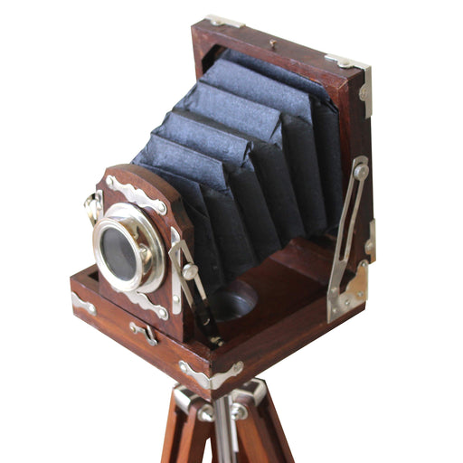 アンティークカメラ型デコ New Antique Vintage Look Film Camera Wooden Tripod Collectible Studio Gift (22 Inches) - Zacca store