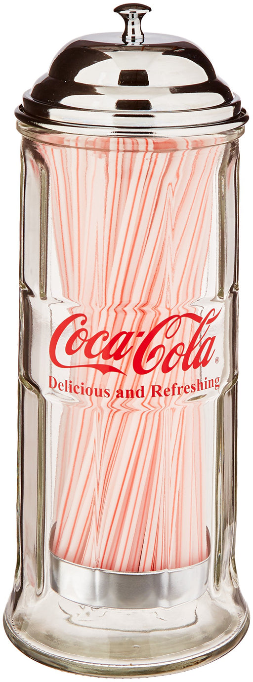 コカコーラ ストローホルダー TableCraft's CC322 Coca-Cola Glass Straw Dispenser with Metal Lid - Zacca store