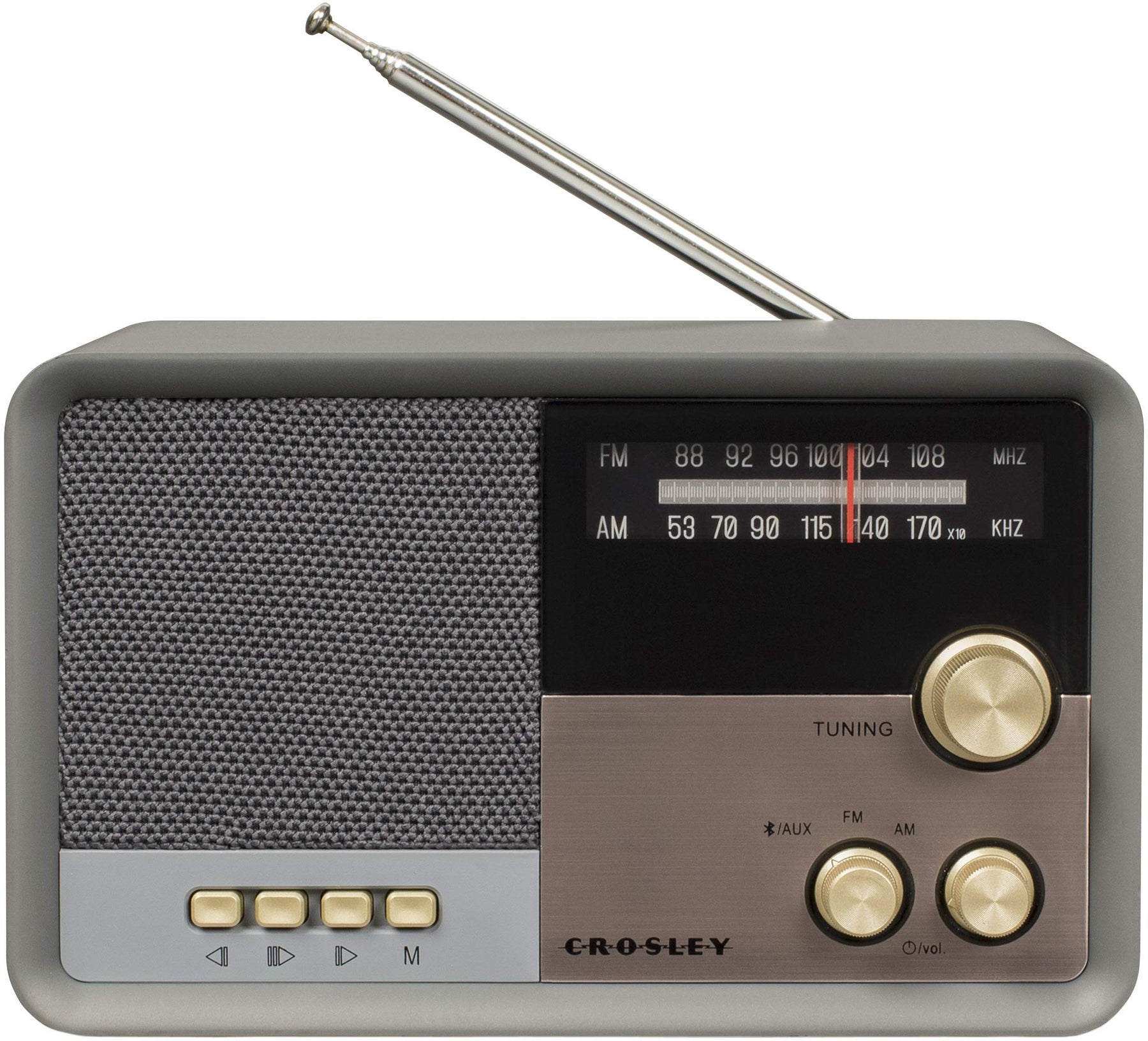 レトロ AM/FM ラジオCrosley CR3036D Tribute Vintage AM/FM Bluetooth Radio, Charcoal - Zacca store