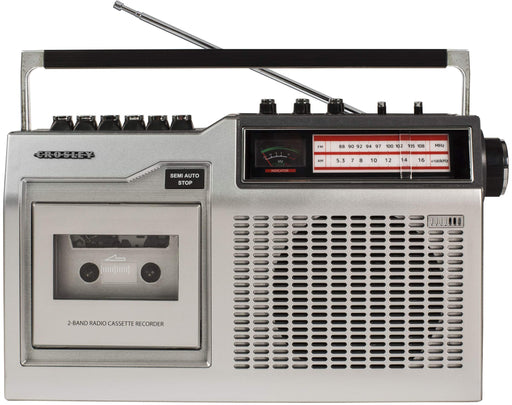 Crosley CT200A Retro Portable Cassette Player with AM/FM Radio and Built-in Microphone, Silver - Zacca store