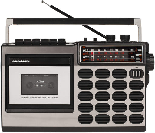 Crosley CT100A Retro Portable Cassette Player with AM/FM Radio and Built-in Microphone, Silver - Zacca store