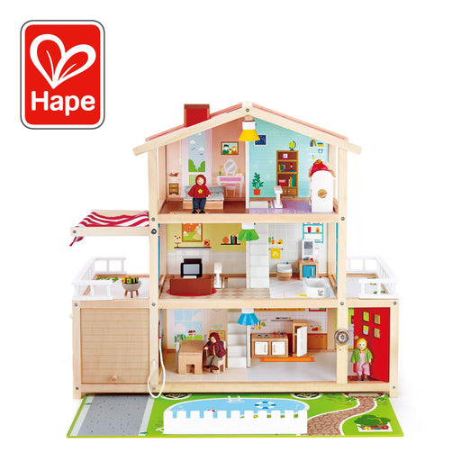 Hape Doll Family Mansion| Award Winning 10 Bedroom Doll House, Wooden Play Mansion with Accessories for Ages 3+ Years - Zacca store