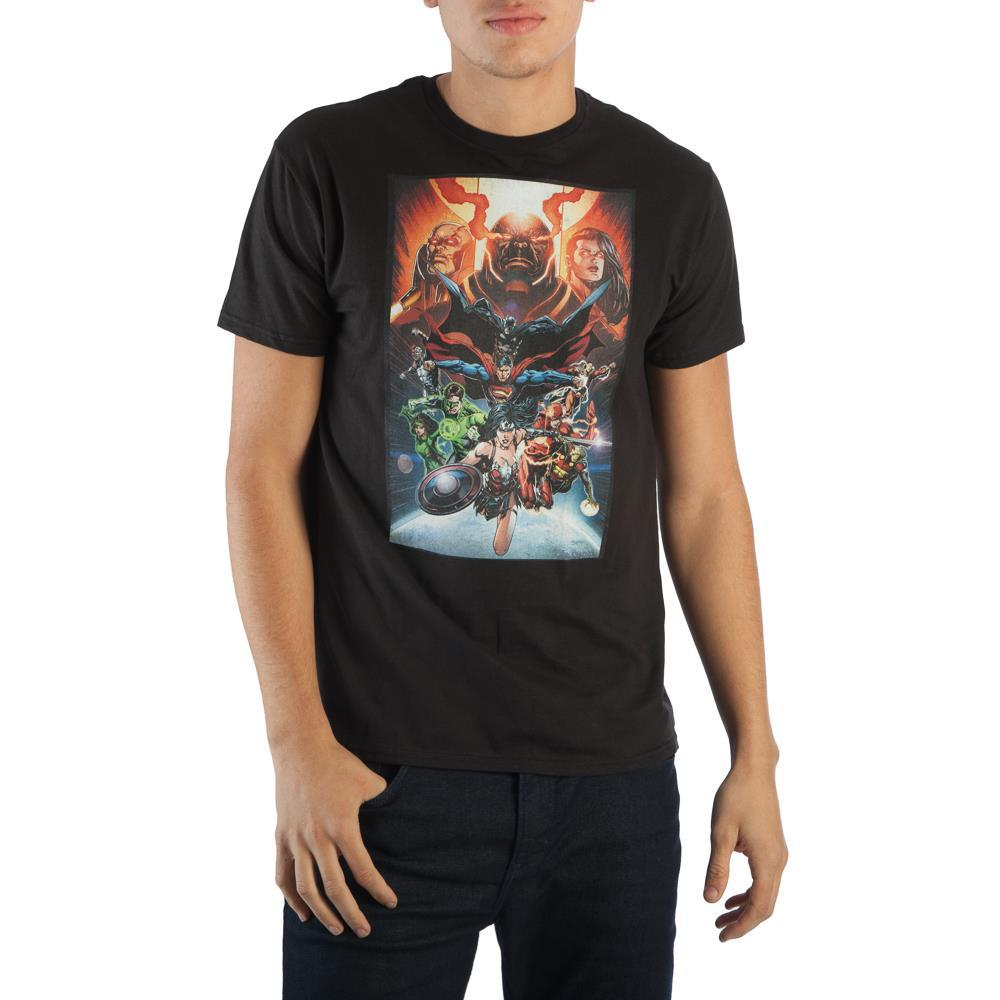 DC Comics Superheroes Justice League Men's Black Tee Shirt T-Shirt - Zacca store