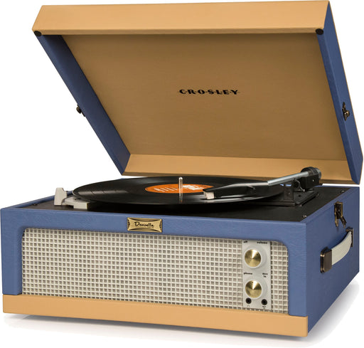 Crosley ジュニア ポータブル ターンテーブル CR6234A-BT Dansette Junior Portable Turntable with Aux-In, Blue/Tan - Zacca store