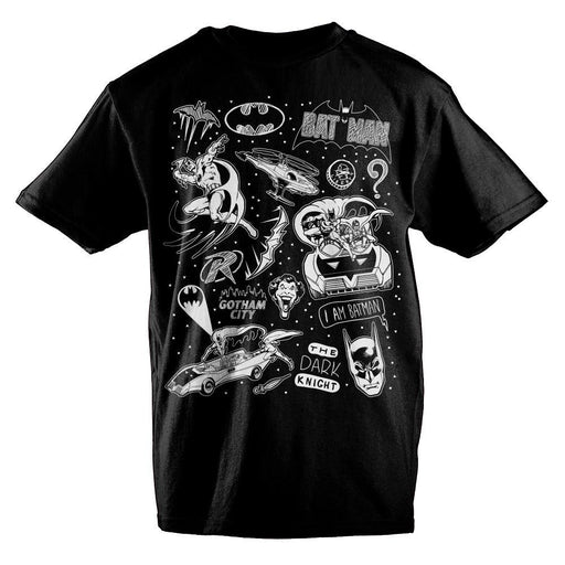 バットマン メンズ T-シャツ  DC Comics Batman Chalk Artwork Boys T-Shirt - Zacca store