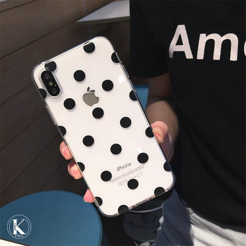 Polka Dots Clear TPU iPhone Case - Zacca store
