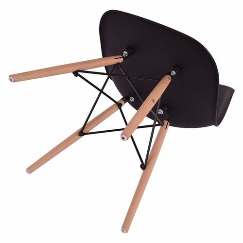 Set of 4 Mid Century Modern Style Dining Chair Black - Zacca store
