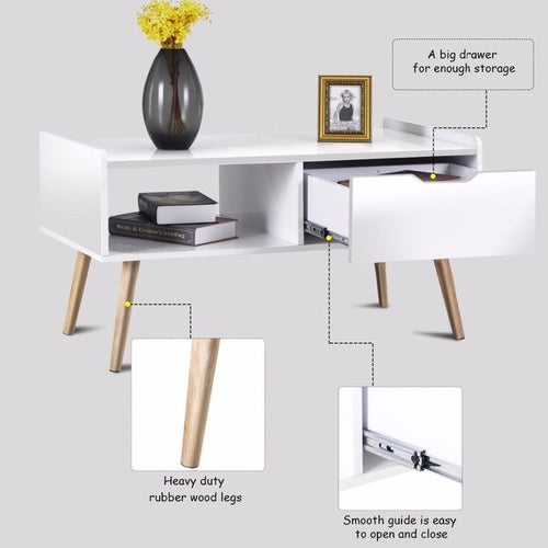 Modern Coffee Table Side End Table w/ Drawers Solid Wood Legs - Zacca store