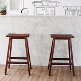 "Set of 2 Saddle Seat 29"" Bar Stools Wood - Zacca store"