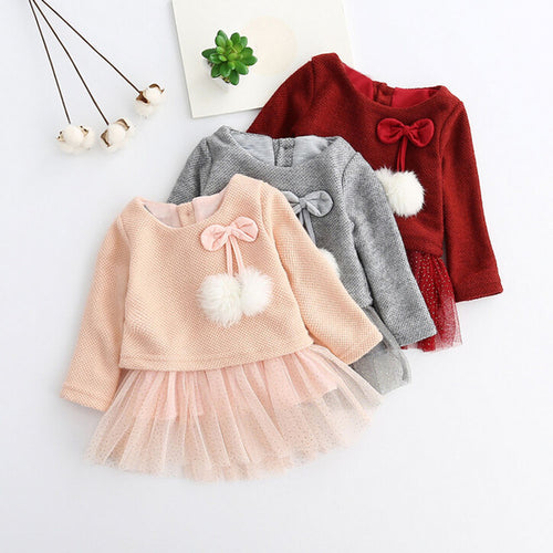 Pom Pom Knit Baby Tutu Dress - Zacca store