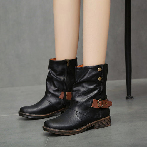 Vintage Style Soft PU Boots Round Toe - Zacca store