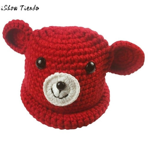 Winter Hats For Kids Cute Bear Pattern Knitting - Zacca store