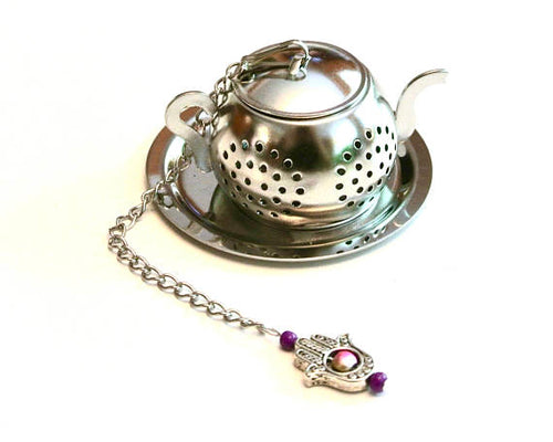 Tea Pot Infuser with Hamsa Hand Charm - Zacca store