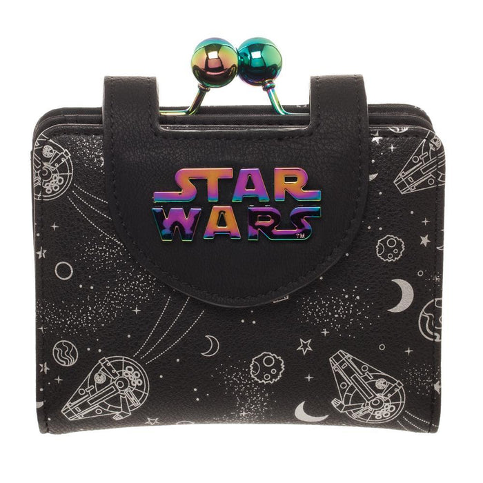 Disney Star Wars Universe Wallet & Coin Purse, Galaxy Hologram, All Over Print Space Spacecraft - Zacca store