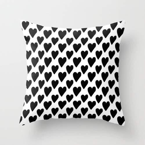 Black And White Hearts Cushion/Pillow - Zacca store
