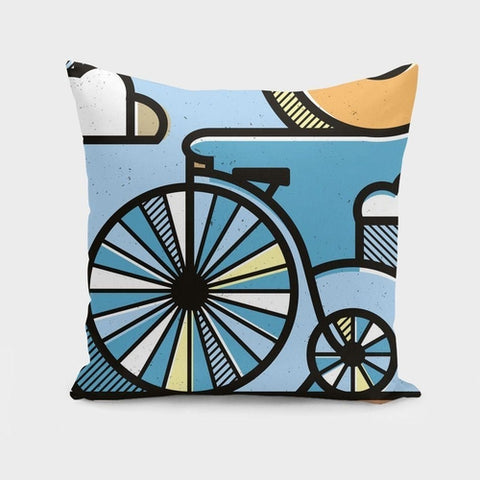 Riding through clouds  Cushion/Pillow - Zacca store