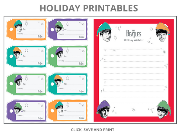 Click to save and print The Beatles Printable Holiday Gift Tags and Wishlist!
