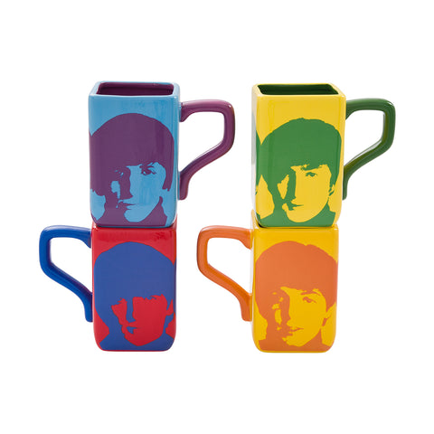 Color Bar 4 Piece Square Mug Set