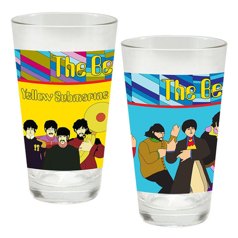 Yellow Submarine 2 pc. 16 oz. Laser Decal Glass Set