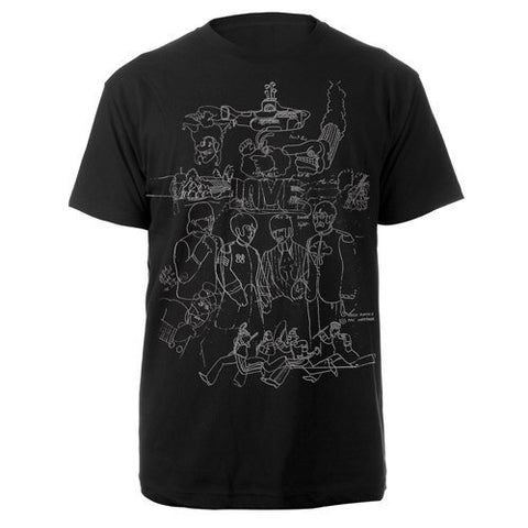 Yellow Submarine Mens Black T-Shirt