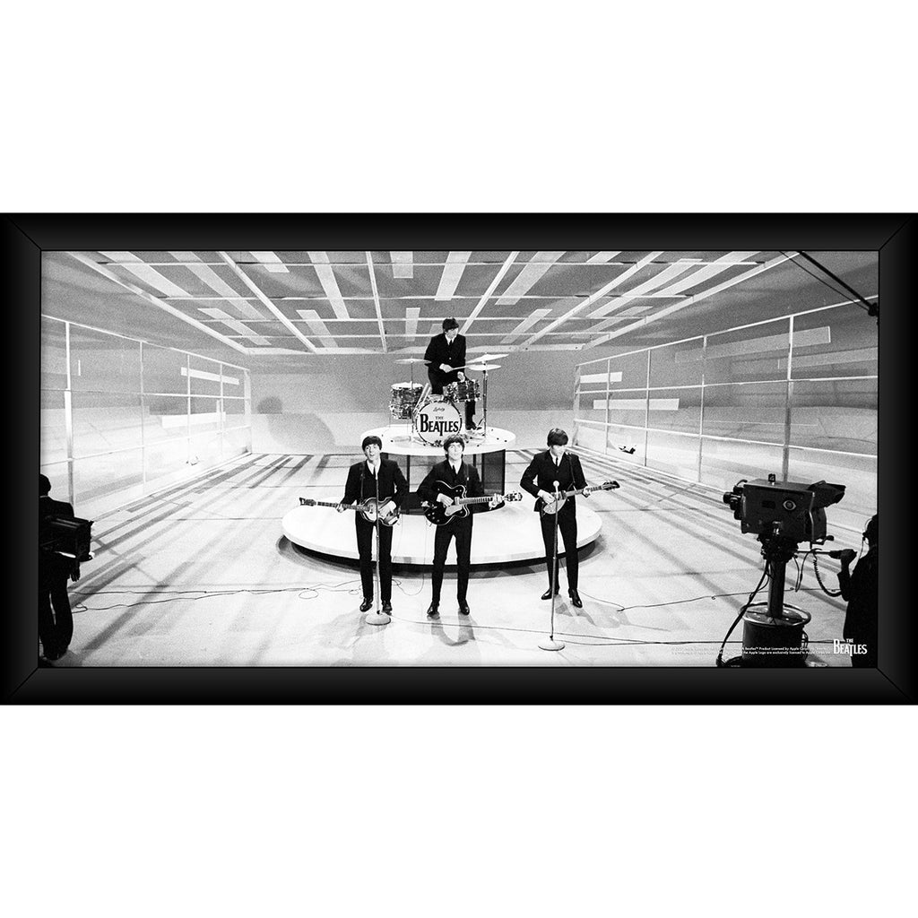 The Beatles \'On Stage\' Black and White 10x20 Framed Photo