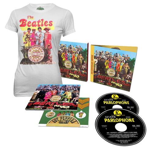 Sgt. Pepper's Lonely Hearts Club Band 2 Deluxe CD + Women's T-Shirt Bundle