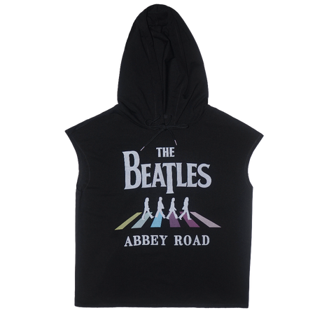 Abbey Road Black Sleeveless Hoodie