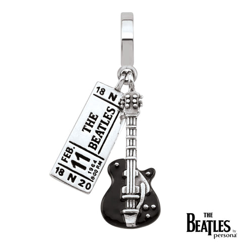 925 Sterling Silver The Beatles Ticket and Guitar Charm