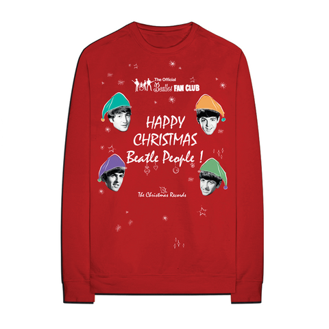 Happy Christmas Beatle People Red Longsleeve