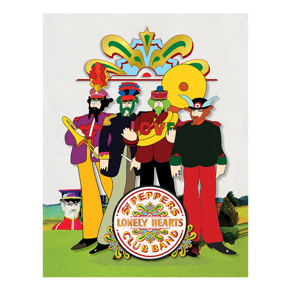 Yellow Submarine Pepperland Band With Drumhead 19 X 24 Canvas